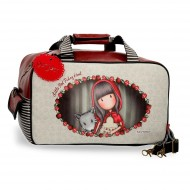 BORSA DA VIAGGIO CON TRACOLLA GORJUSS LITTLE RED SANTORO LONDON SIMILPELLE 45X25X25CM 1 ZIP +TASCHE INT.1 CON ZIP 100%PU