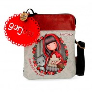MESSENGER MINI BORSA A TRACOLLA GORJUSS LITTLE RED SANTORO LONDON SIMILPELLE 13X16X1,5CM 1 ZIP+TASCHE 100%PU ECOPELLE
