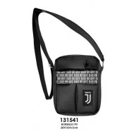 BORSELLO A TRACOLLA FC JUVENTUS BLACK AND WHITE ORIGINAL 21X19X4CM 2 ZIP 100%PU PRODOTTO UFFICIALE DISTRIB.DA IMMA ITALY