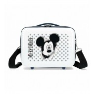 BEAUTY DA VIAGGIO RIGIDO ABS HAVE A GOOD DAY MICKEY DISNEY 29X21X15CM BIANCO E NERO CON FASCIA AGGANCIO AL TROLLEY