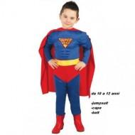 VESTITO COSTUME CARNEVALE SUPER HERO MUSCLE HERO SUPERMAN BLU E ROSSO 10/12 ANNI COMPLETO DI 3 PEZZI PER FESTE VARIE