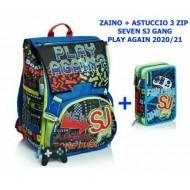 SEVEN SCHOOL PACK SJ GANG PLAY AGAIN TURCHESE FLUO ZAINO SCUOLA SDOPPIAB.+ ASTUCCIO 3 ZIP 45 PEZZI GIOTTO/FRIXION PILOT