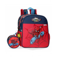 ZAINETTO ASILO SPIDERMAN POP ROSSO E BLU 1 ZIP 2 TASCHE LATERALI+ASTUCCIO 8X8X4CM THE AMAZING MARVEL ORIGINAL 25X23X10CM