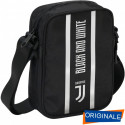 SQUARE SHOULDER BAG TRACOLLINA FC JUVENTUS 15X21X6CM TRACOLLA NERA 1ZIP LOGO BLACK AND WITHE PROD.UFFICIALE SEVEN ITALY