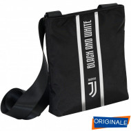 MINI SHOULDER BAG TRACOLLINA FC JUVENTUS 24X20XCM TRACOLLA NERA 1ZIP LOGO BLACK AND WITHE PRODOTTO UFFICIALE SEVEN ITALY