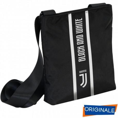 MINI SHOULDER BAG TRACOLLINA FC JUVENTUS 24X20XCM TRACOLLA NERA 1ZIP LOGO BLACK AND WITHE PRODOTTO UFFICIALE SEVEN ITALY